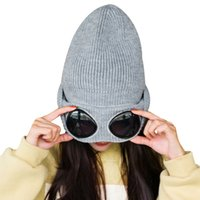 Wholesale cap stack - Women Caps Windproof Glasses Hat Wool Winter Fashion Gorros Cap Fixing Stacking Knitted Hats Women Personality Ski Cap