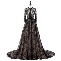 Wholesale cheap celebrity party dresses - Sexy Sheer Neck Lace Prom Dresses Long Jewel Illusion Long Sleeves Evening Dress Count Train Real Images Celebrity Party Dress Cheap Gown