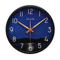 modern metal saat toptan satış-Yeni 12 Inç Denizde geceleri Tasarım Metal Çerçeve Modern Moda Yuvarlak Duvar Saati LUMINOVA Dekoratif Duvar saati