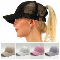 Wholesale Truckers Hats - CC Ponytail Hats Messy Buns Trucker CC Pony Caps Plain Baseball Visor Cap Dad Hat 13 Colors 100pcs OOA4722