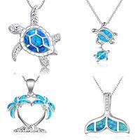 ingrosso grande corda in oro 14k-Nuova moda carino argento riempito blu opale collana pendente mare tartaruga per le donne femminile matrimonio animale ocean beach regalo gioielli