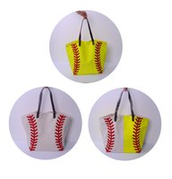 Wholesale Wholesale Leather Handles - ROYALBLANKS Personalised Wholesale Sprot Tote Bag With Faux Leather Handles Baseball Bag Softball Bag Can Be Embroidery Free Shipping