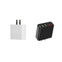 Wholesale Digital Voltage Current Display - 3 USB Ports Wall Charger 5V 3A Fast Plug Chargers US AC Adapter Voltage Current LCD Digital Display For iPhone Android Cellular Phone