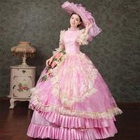 vintage victorian kostüme frauen großhandel-YF Frauen viktorianischen Vintage Ballkleid Party Kleid Renaissance Kostüm Kostüm mit Hut sexy