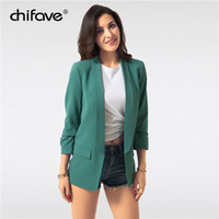 fe9e36d51520f 2018 chifave Fashion Autumn Thin Slim Jackets For Women Casual Cuff Folds Office  Ladies Coats Woman s Solid Black White Jackets C18110601