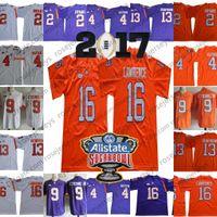 jerseys clemson al por mayor-Clemson Tigers 16 Trevor Lawrence 4 Deshaun Watson 9 Travis Etienne Jr. 13 Hunter Renfrow Purple White Orange Sugar Bowl Camisetas