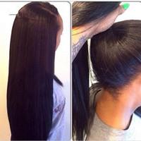 pelucas de las mujeres negras al por mayor-Stock Yaki peluca recta del frente del cordón de 18-30 pulgadas de largo de las mujeres peluca frontal de encaje negro natural del cordón sintético del color completamente del pelo