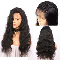 Wholesale popular lace wigs - Pre Plucked Brazilian Human Hair Lace Front Wigs With Baby Hair Popular Body Wave Medium Size Swiss Lace Front Wig Natural Color