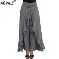 ingrosso gonna maxi chiffon linea-ADEWEL 2018 New Chic Chiffon Donna Maxi Skirt Pants Tie Waist Ruffle Skirted Palazzo Pants Solid Elegant Culotte Black Grey
