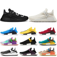 Hot selling Human Race Hu trail pharrell williams men running shoes Nerd black cream Holi mens trainers women designer sports runner sneakers size 5-12