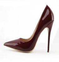 ingrosso tacchi a punta di bordeaux-Scarpe da donna in pelle specchiata sexy europea bordeaux scarpe da sera rosse con punta tacco alto vino rosso lucido scarpe da sposa chic
