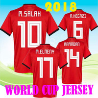 Wholesale Cheap Foot - Wholesale cheap price 2018 Egypt Jersey soccer M. SALAH world cup Home Red 2018 KAHRABA Mens short sleeve footbal SHIRT maillot de foot