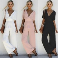 a2f1cd219a24 black bodysuits pants fashion NZ - OL summer women jumpsuit long pants  solid loose lace UP