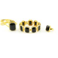 conjuntos de ouro puro de 18k venda por atacado-Design de moda Conjuntos de Jóias Pulseiras Brincos Pingente Colares Para Mens Gems Full Diamond Jóias Hip Hop Banhado A Ouro