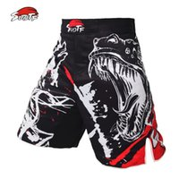luchar contra el fitness al por mayor-Suotf Black Ink Style Domineering Screaming Mma Fitness Shorts transpirables Fight Boxing Tiger Muay Thai Cheap Mma Shorts Boxeo