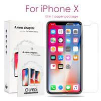 paketlenmiş cam ekran koruyucu toptan satış-1 Kağıt Paketi iPhone 11 Pro Max X / XS MAX XR 8 7 6S Artı Samsung J3 J7 Prime S7 Ekran Koruyucu 10 Glass Sertleştirilmiş