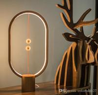 Wholesale wooden balance - 2018 Hot Selling Creative Heng Balance Magnetic LED Light Wooden Table Lamp, Magic Decorative Night Light