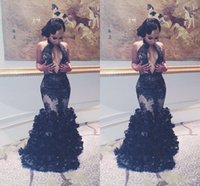 Wholesale Women Mermaid Ruffle Dresses - Sexy African Mermaid Black Lace Prom Dresses 2017 Keyhole Neck Backless Flouncing Ruffles Arabic Gowns Women Evening Pageant Runway Dress