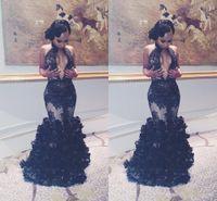 volante de encaje al por mayor-Sexy sirena africana de encaje negro vestidos de baile 2017 Keyhole cuello sin espalda volantes volantes vestidos árabes mujeres noche desfile vestido de pista
