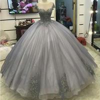 бальное платье свадебное платье серебро оптовых-2018 Scopp серебро с коротким рукавом аппликации из органзы бальное платье длиной до пола, свадебное платье без рукавов, реализовать винтаж плюс размер свадебных платьев