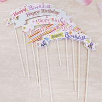 ingrosso bandiere diy-1 PZ FAI DA TE Happy Birthday cake topper Bandiera Bandiera cupcake cake flags baby shower bambino forniture festa di compleanno Decorazione