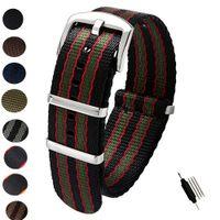 pulseiras de nylon pulseiras de relógio 22mm venda por atacado-20mm 22mm Cinto de Segurança de Nylon NATO Zulu Strap Heavy Duty Assista Banda Relógio de Substituição Correias Preto Azul Cinza James Bond