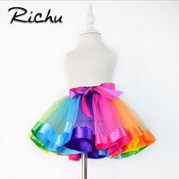 Wholesale Rainbow Tutus For Girls - Richu red tulle skirt girls tutu baby skirt christmas rainbow children skirts tutu fluffy skirt for girl dancing party ball gown