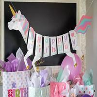 banner de tarjetas al por mayor-Unicornio Feliz fiesta de cumpleaños bandera Bandera de papel Secuencia de la bandera Bandera de Bunting Fiesta de Navidad Papel Pony Tarjeta Decoración apoyos FFA1151