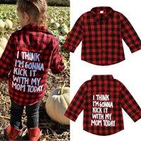 camisa negra para niña al por mayor-La muchacha del bebé largas telas escocesas de la manga de la camisa roja de manga larga Negro remata la blusa Ropa Casual impresión de la letra de muy buen gusto Niños ropa 2-7T