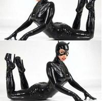 traje azul completo de las mujeres al por mayor-2016 Más Tamaño M XL XXL Sexy Catwoman Bondage Catsuit Body de Látex Negro de Imitación de Cuero Estiramiento de PVC Traje de la Ropa Interior
