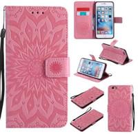 iphone çiçek cüzdanları toptan satış-Mandala Çiçek Kabartmalı Çevir Cüzdan Deri Kapak Telefon Kılıfı için iphone XS Max XR X 8 7 6 6 S Artı Samsung S8 S9 S10 Artı Lite Not 8 9