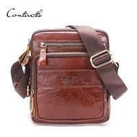 Wholesale leather ipad messenger - CONTACT'S Genuine Cow Leather Men Bags ipad Handbags Male Messenger Bag Man Crossbody Shoulder Bag Men's Travel Bags Hot Sale