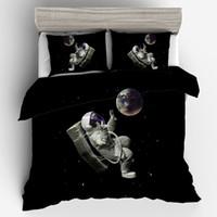 cama espaço venda por atacado-Conjunto de cama Adulto 3 Peças Capa de Edredão 3D Outer Space Bedding Set Gêmeo Completa Rainha King Size Colcha Travesseiro Travesseiro