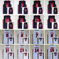 176db6024 1992 USA Dream Team One Jerseys Basketball 13 Chris Mullin 15 Magic Johnson  5 David Robinson Jersey 11 Karl Malone 4 Christian Laettner