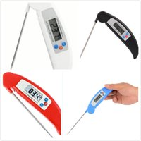 Wholesale Food Grill - Barbecue Thermometer 4 colors BBQ Folding Probe Grill Kitchen Food Electronic Probe Thermometer Red Black Blue White 1.5v
