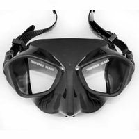 Wholesale black dive mask resale online - Extreme Low Volume Spearfishing Swim Diving Mask Black Silicone Skirt Strap Tempered Lens Freediving Adult Spearfishing Gears Snorkeling