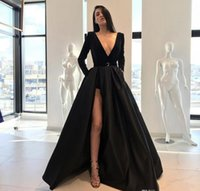 Wholesale Nude Long Sleeve Shirt - Gorgeous Black Satin Deep V Neck Evening Dresses Pants 2018 Front Split Long Sleeves A Line Prom Dress Formal Party Gowns Celebrity Dress