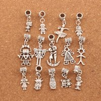 Wholesale 140pcs Boy And Girl Dangle Big Hole Beads Tibetan Silver Fit European Charm Bracelet Jewelry DIY BM54