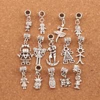 jungen mädchen charme großhandel-140pcs / lot Junge und Mädchen baumeln großes Loch bördelt tibetanische silberne passende europäische Charme-Armband-Schmucksachen DIY BM54