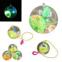 Wholesale flashing ball rope for sale - Children Luminescence Transparent Crystal Ball With Rope Elastic Force Flash Of Light Bouncy Balls Toy New Arrival zp W