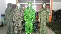 Wholesale woodland uniform online - Hunting Woodland D Bionic Leaf Disguise Uniform CS Camouflage Suits Set Sniper Ghillie Suit Jungle Train Hunting Tactical Sweaters MK317
