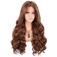 en sıcak peruklar toptan satış-Fabrika doğrudan toptan sentetik saç dantel ön peruk isıya dayanıklı süper dalgalı sıcak satış sentetik peruk siyah kadın
