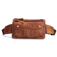 Nesitu High Quality Brown Coffee Vintage Real Genuine Leather Men Waist Bags  Male Messenger Bags Man Chest Bag Phone M8136 1cd66e4a050f0