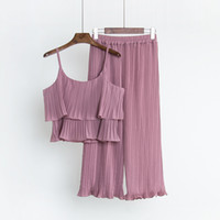 Wholesale sexy girls yoga pants for sale - Summer New Women Sexy Lotus Leaf Spaghetti Tops Pants Pleated Chiffon Suits Womens Piece Sets Clothes Girls Tracksuits
