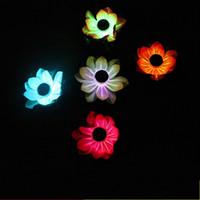 Wholesale lantern lotus - LED Lotus Lantern Plastic Fake Simulation Flower Lanterns Solar Energy For Party Decoration Water Floating Wishing Lamp 12cg UU