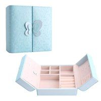 Wholesale makeup earrings - 3 Layers Portable Jewelry Case Leather Jewelry Box Butterfly Door Makeup Cosmetic Storage Box Women Valentine's Day Gift Support FBA Drop S