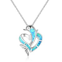 Wholesale 925 sterling silver dolphin necklaces - Fashion Dolphin Design With Heart Blue Fire Opal Pendants Necklace Genuine 925 Sterling Silver Wedding Jewelry