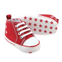baskets à lacets en toile bébé achat en gros de-Toile Nouveau-né Bébé Garçon Fille Chaussures Marque Soles Douces Non-slip Étoile À Lacets Premiers Marcheurs Enfant Bébé Chaussures Bébé Sneakers