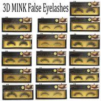 Wholesale fake fur black - 3D Mink False Eyelashes Handmade Natural Long Thick Mink Fur Eyelashes Soft Fake Eye Lash extensions Black Terrier Full Strip Lashes