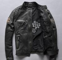 ingrosso vendite di cuoio genuino-giacche da moto in vera pelle vintage da uomo in pelle nera da uomo redskins in vendita